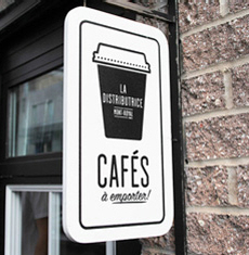 Outdoor coffee shp vinyl sign